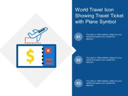 World Travel Icon Showing Travel Ticket With Plane Symbol