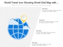 World Travel Icon Showing World Grid Map With Location Sign