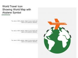 World Travel Icon Showing World Map With Airplane Symbol