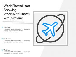 World Travel Icon Showing Worldwide Travel With Airplane