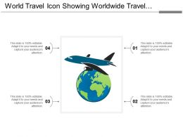 World Travel Icon Showing Worldwide Travel With Airplane Symbol