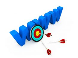 World Wide Web With Target Dart And Arrows Showing Business And Sales Target Stock Photo