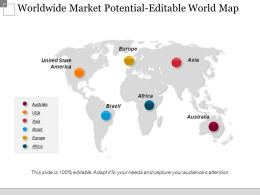 Worldwide Market Potential Editable World Map Ppt Images Gallery