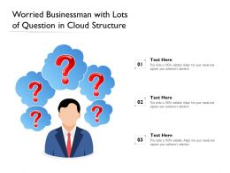 Worried Businessman With Lots Of Question In Cloud Structure