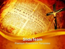 Worship Jesus Powerpoint Templates Open Bible Showing Revelation Religion Graphic Ppt Theme