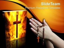 Worship Jesus Powerpoint Templates Praying With Rosary Church Download Ppt Themes