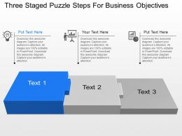 Wp Three Staged Puzzle Steps For Business Objectives Powerpoint Template