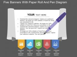 wq_five_banners_with_paper_roll_and_pen_diagram_flat_powerpoint_design_Slide01