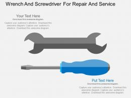 Wrench And Screwdriver For Repair And Service Flat Powerpoint Design