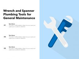 Wrench And Spanner Plumbing Tools For General Maintenance