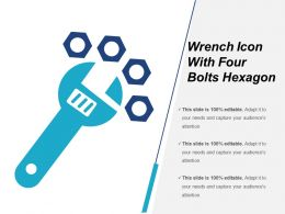 Wrench Icon With Four Bolts Hexagon