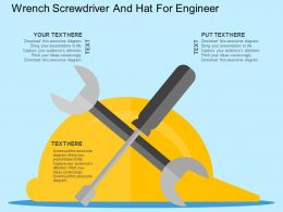Wrench Screwdriver And Hat For Engineer Flat Powerpoint Design