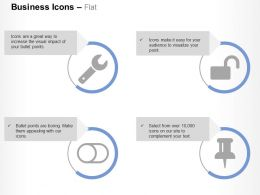 Wrench Unlock Toggle Off Thumb Tack Ppt Icons Graphics