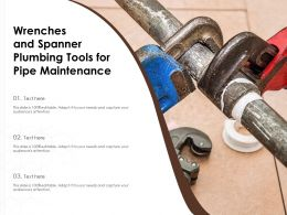 Wrenches And Spanner Plumbing Tools For Pipe Maintenance
