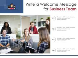 Write A Welcome Message For Business Team Infographic Template