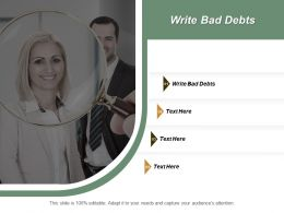 Write Bad Debts Ppt Powerpoint Presentation Inspiration Format Cpb