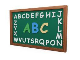 Write Bold Letters On Blackboard Stock Photo