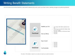 Writing Benefit Statements Functional Ppt Powerpoint Presentation Model Slides