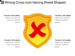 Wrong Cross Icon Having Shield Shaped