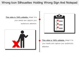 Wrong Icon Silhouettes Holding Wrong Sign And Notepad