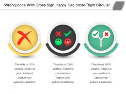 Wrong Icons With Cross Sign Happy Sad Smile Right Circular