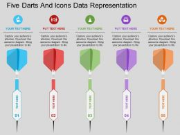ws Five Darts And Icons Data Representation Flat Powerpoint Design