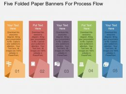 wt Five Folded Paper Banners For Process Flow Flat Powerpoint Design