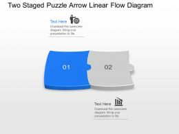 Wt Two Staged Puzzle Arrow Linear Flow Diagram Powerpoint Template