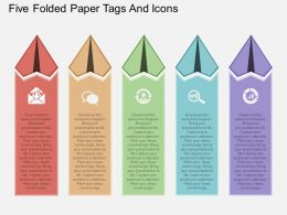 wu Five Folded Paper Tags And Icons Flat Powerpoint Design