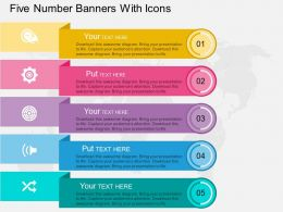 wv Five Number Banners With Icons Flat Powerpoint Design