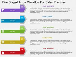 wx Five Staged Arrow Workflow For Sales Practices Flat Powerpoint Design