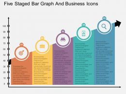 wy Five Staged Bar Graph And Business Icons Flat Powerpoint Design