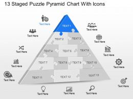 Xc 13 Staged Puzzle Pyramid Chart With Icons Powerpoint Template