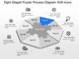 Xi Eight Staged Puzzle Process Diagram With Icons Powerpoint Template