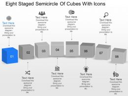Xj Eight Staged Semicircle Of Cubes With Icons Powerpoint Template