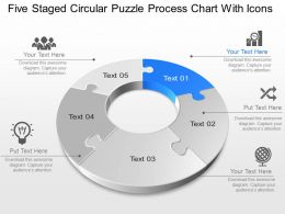 Xm Five Staged Circular Puzzle Process Chart With Icons Powerpoint Template