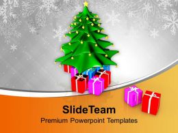 Xmas Tree With Colored Gifts Powerpoint Templates Ppt Themes And Graphics 0113