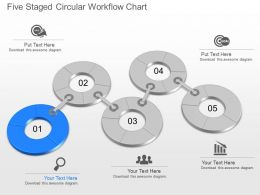 Xn Five Staged Circular Workflow Chart Powerpoint Template