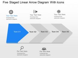 Xo Five Staged Linear Arrow Diagram With Icons Powerpoint Template