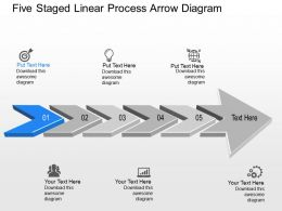 Xp Five Staged Linear Process Arrow Diagram Powerpoint Template