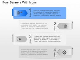 Xr Four Banners With Icons Powerpoint Template