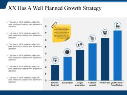 Xx Has A Well Planned Growth Strategy Powerpoint Templates