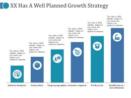 Xx Has A Well Planned Growth Strategy Ppt Slides Shapes
