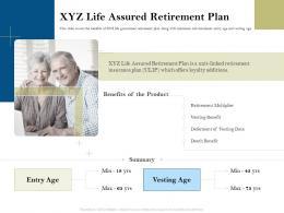 XYZ Life Assured Retirement Plan Pension Plans Ppt Powerpoint Presentation Introduction