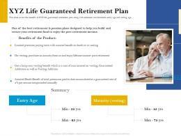 XYZ Life Guaranteed Retirement Plan Retirement Analysis Ppt Professional Structure