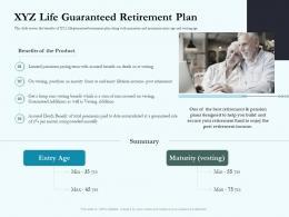 XYZ Life Guaranteed Retirement Plan Social Pension Ppt Icons