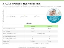 XYZ Life Personal Retirement Plus Investment Plans Ppt Summary Professional
