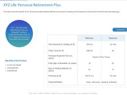 XYZ Life Personal Retirement Plus Ppt Powerpoint Presentation Summary