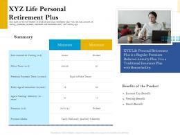 XYZ Life Personal Retirement Plus Retirement Analysis Ppt Infographics Slide Portrait