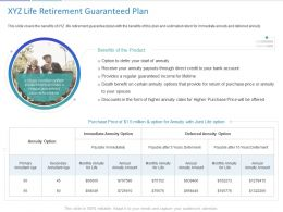 XYZ Life Retirement Guaranteed Plan Ppt Powerpoint Presentation Sample